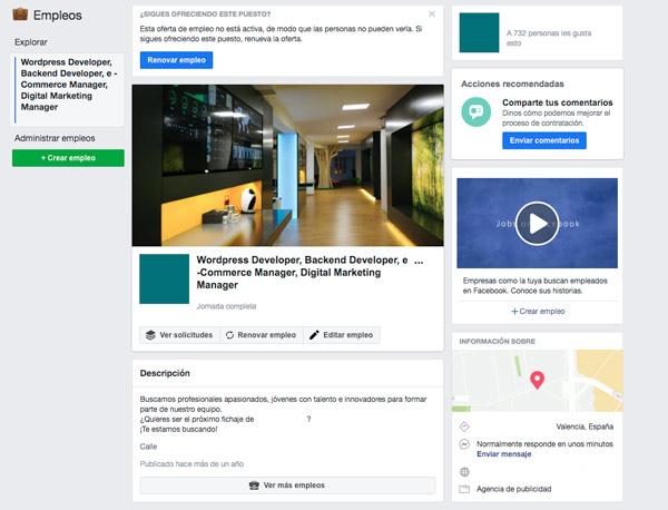 Publicar una oferta de empleo en Facebook